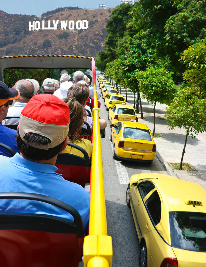 Tourists explore Hollywood in Los Angeles stock image