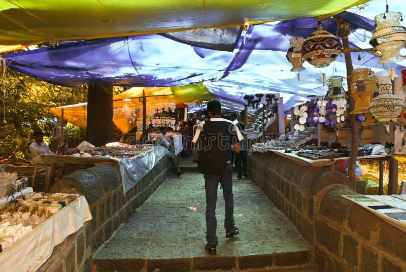 Tourists flock the markets at Elephanta Caves stock photo