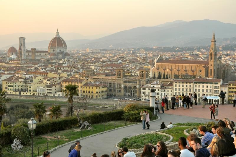 Tourists in Florence, Italy. Tourists on the streets of Florence, Italy. piazzale Michelangelo with tourists viewing the city panorama from above stock images