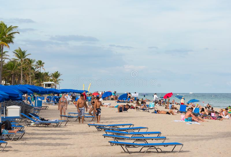 Tourists on Fort Lauderdale beach stock image
