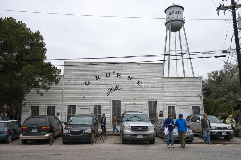 Tourists in the front of the Gruene Hall stock photos
