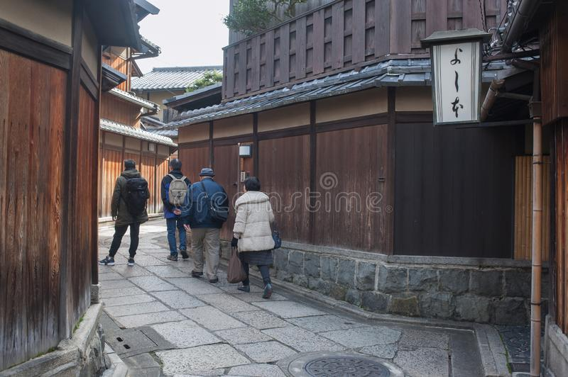 Tourists in Gion district of Kyoto, Japan royalty free stock image