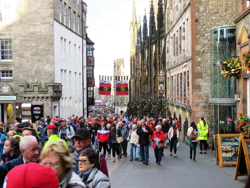 The tourists going for the Military Tattoo at Edinburgh stock photo