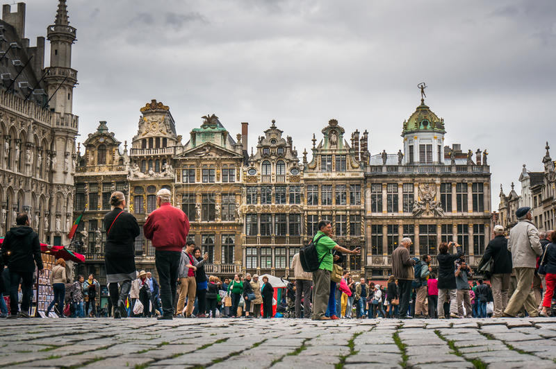 Tourists in Grand Place, Brussels royalty free stock image