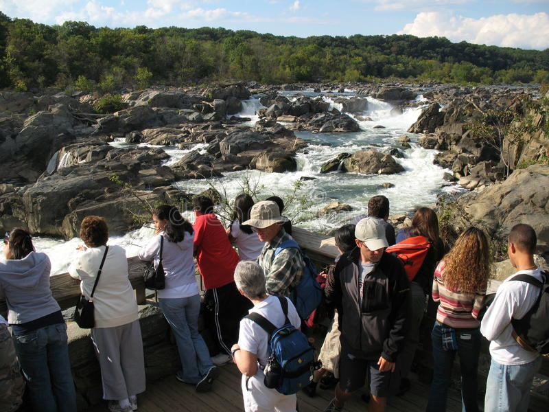Tourists at Great Falls Maryland royalty free stock photos