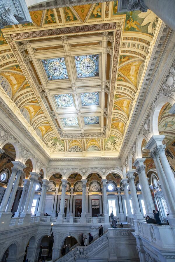 Tourists in Great Hall of Library of Congress stock photography