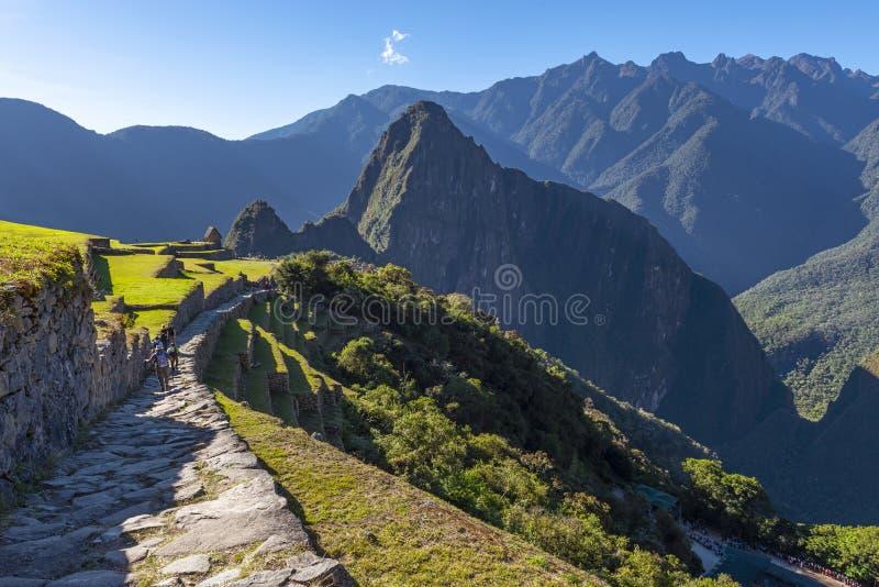 Inca Trail Tourists, Machu Picchu, Peru stock images