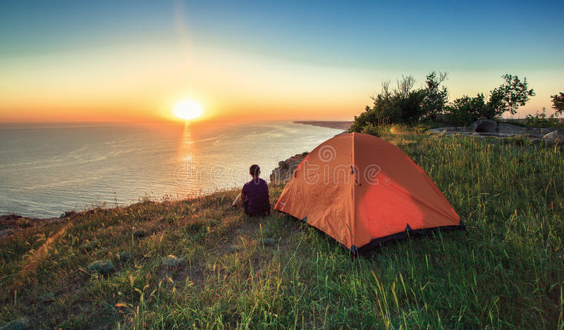 Tourists on holiday,tent stock photos