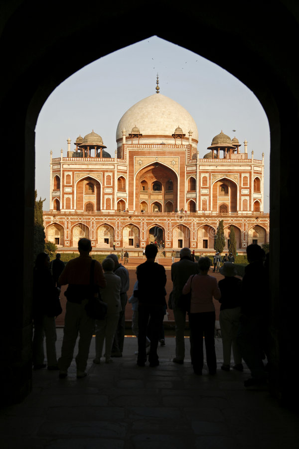 Tourists at Humayun Tomb, Delhi royalty free stock photography