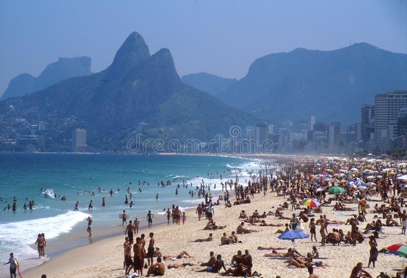 Tourists on Ipanema beach stock photo