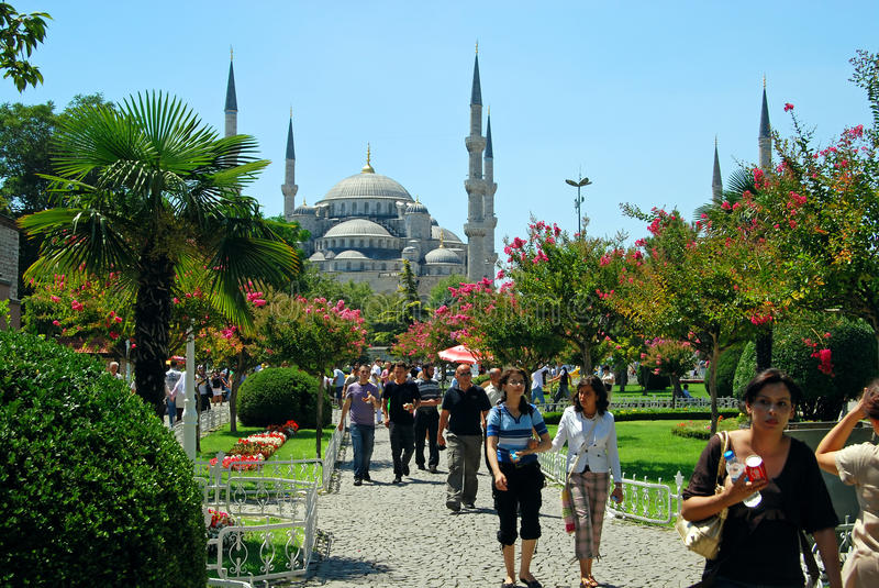 Tourists in Istanbul - Turkey stock image