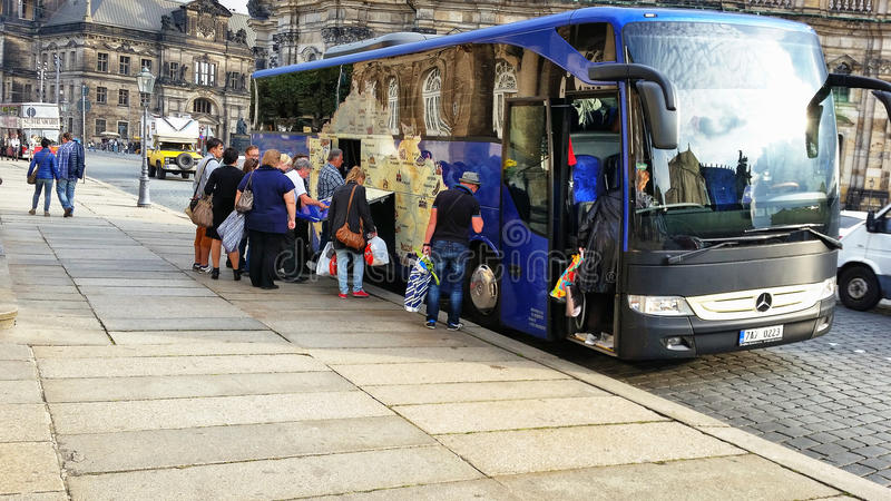 Tourists Leaving Dresden On Bus Editorial Photography Image of