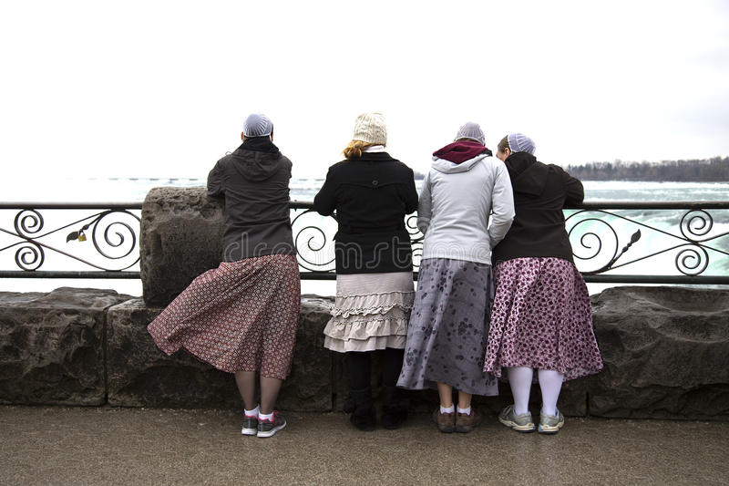 Tourists looking at Niagara falls in Canada stock photos