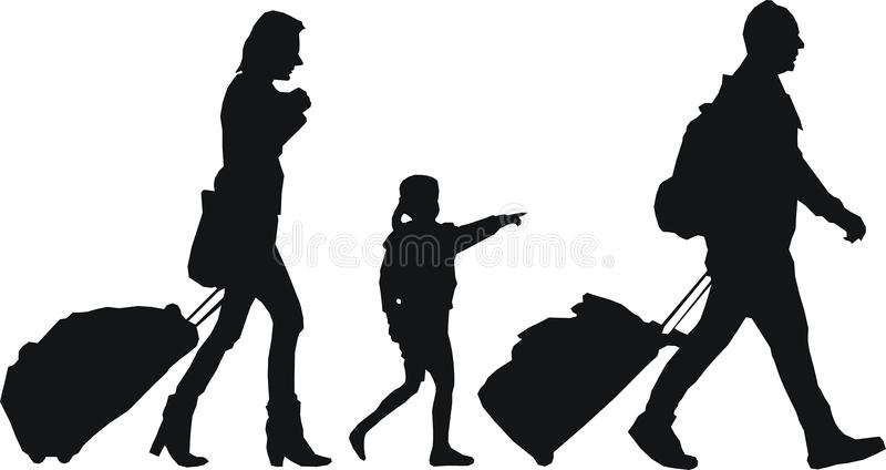 Tourists with luggage stock images