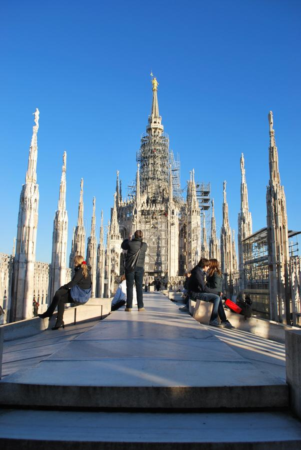 Tourists in Milan stock images
