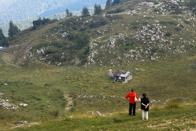 Tourists on Monte Baldo Italy royalty free stock images