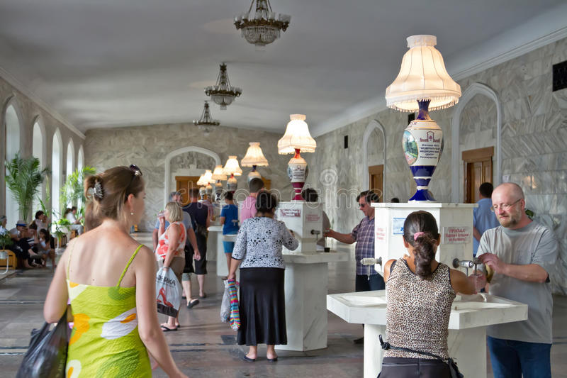 Tourists in Narzan gallery of Kislovodsk stock photo