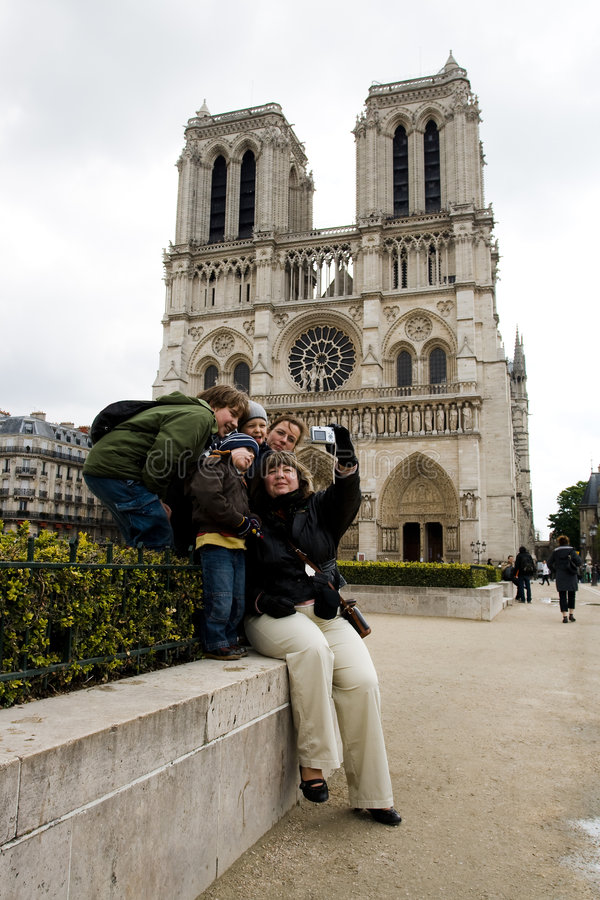 Tourists near Notre Dame de Paris stock photos