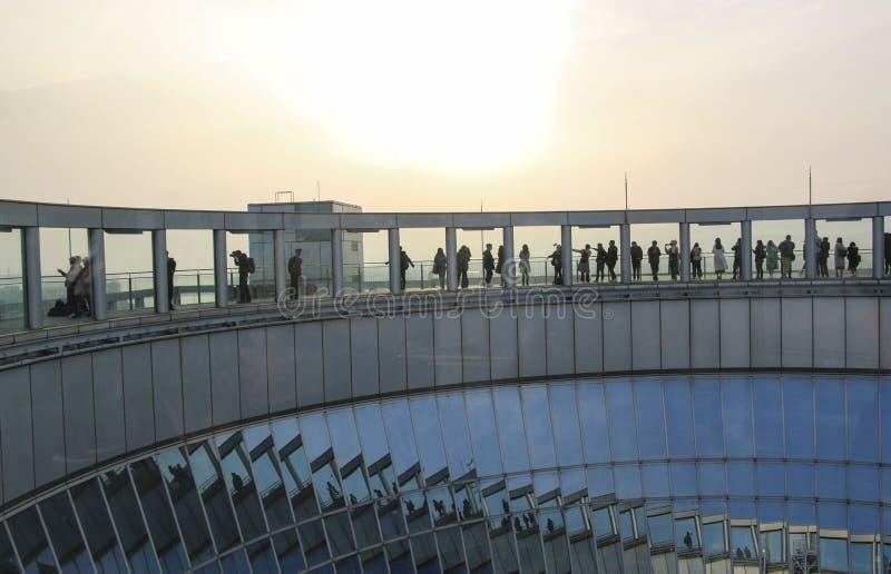 Tourists on observation deck of Umeda Sky Building, Osaka, Japan.  stock photos