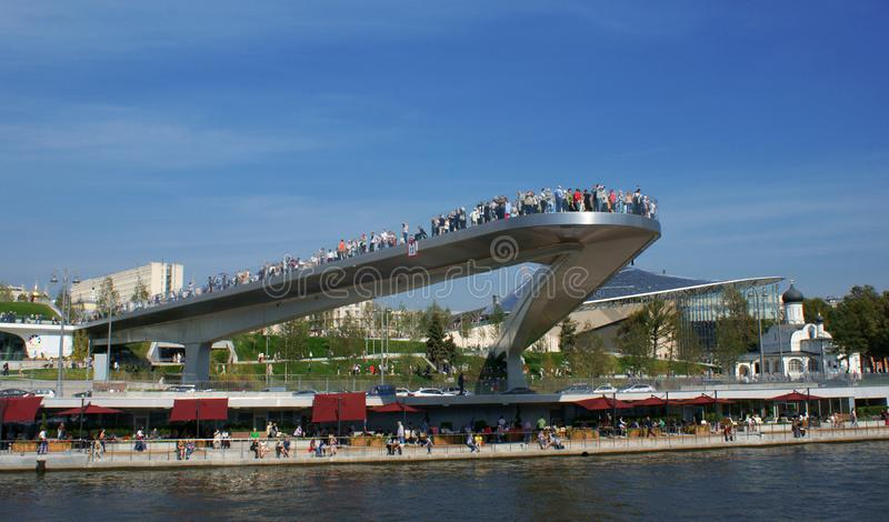 Tourists at an observation platform above Moscow River royalty free stock photography
