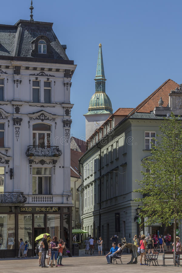 Tourists in the old town area of Bratislava in Slovakia royalty free stock photo