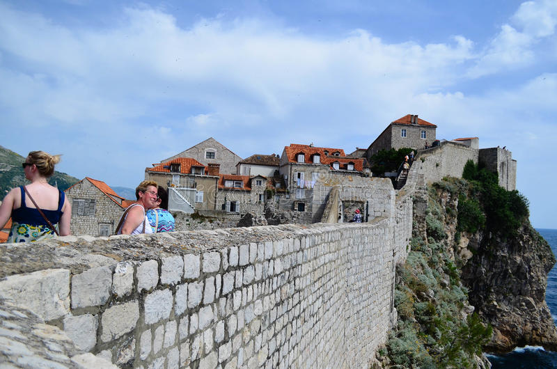 Tourists in the old town of Dubrovnik ,Croatia. Tourists in the citadel in the old town of Dubrovnik ,Croatia royalty free stock photo