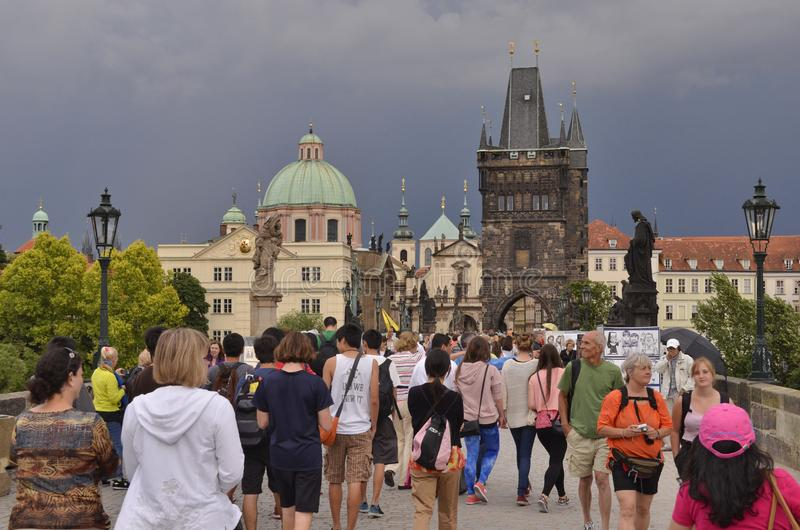Tourists in Old Town Prague Czech Republic stock photography