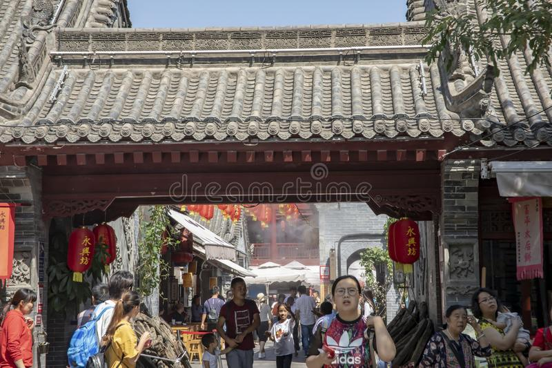 Tourists outside at Yongxingfang Intangible Cultural Heritage an royalty free stock images