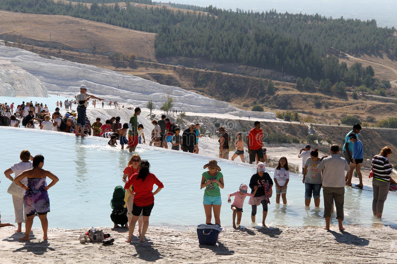 Download Tourists in Pamukkale editorial photo. Image of mount - 34501281
