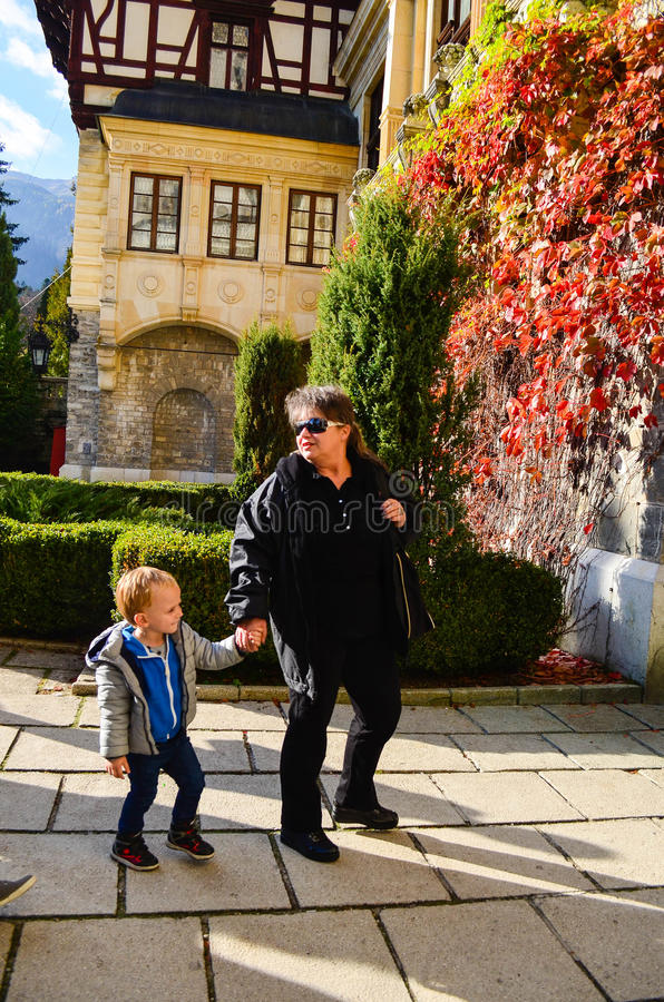 Tourists at Peles castel royalty free stock images