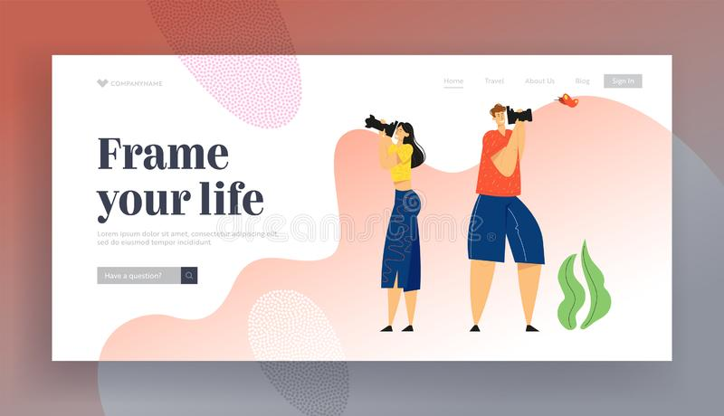 Tourists with Photo Camera Making Picture of Butterfly. Creative Hobby, Character Having Rest on Nature, Outdoor. Activity, Website Landing Page, Web Page vector illustration