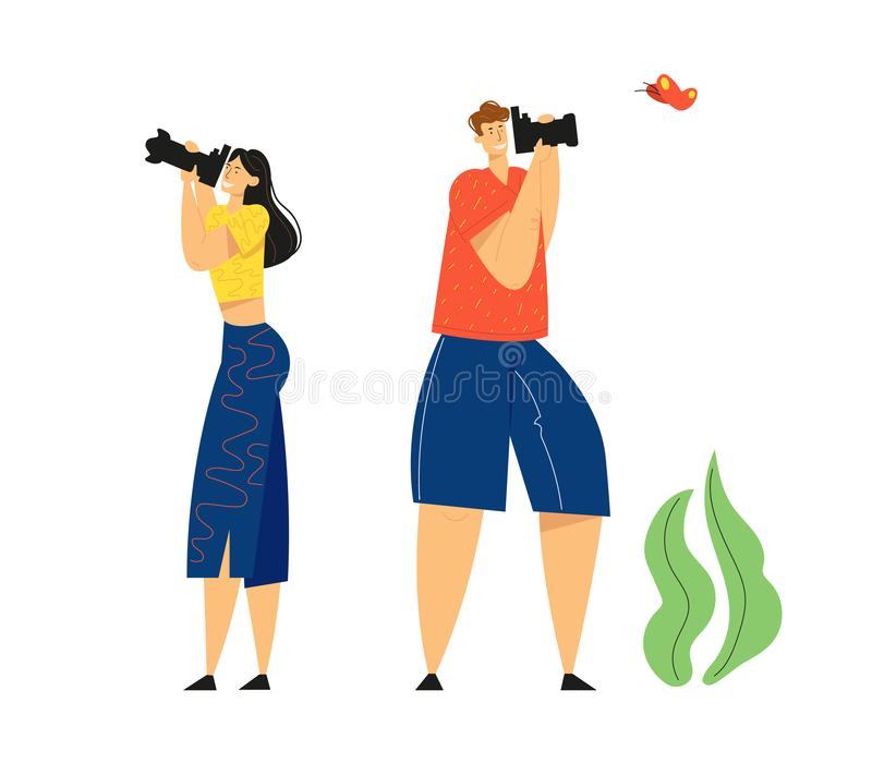 Tourists with Photo Camera Making Picture of Butterfly. Creative Hobby, Traveling, Character Having Rest on Nature. Outdoor Activity, Relaxing in Countryside royalty free illustration