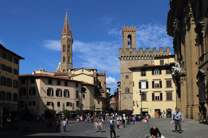 Tourists on the Piazza di Firenze in Florence, Italy royalty free stock image