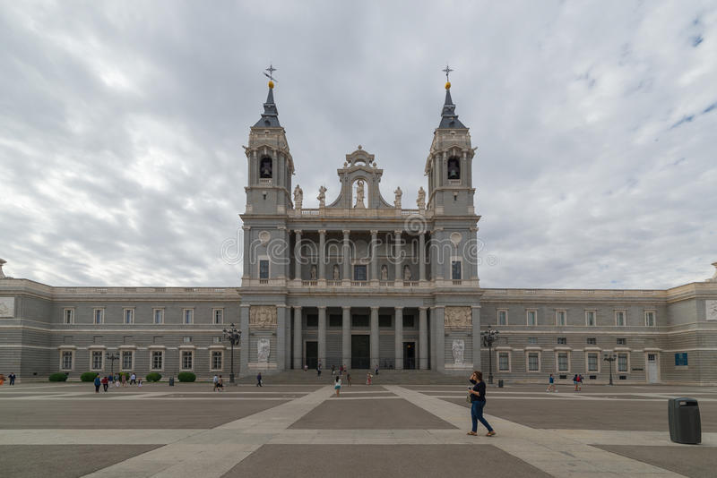 Tourists in Plaza de la Armeria, Madrid, Spain stock photos