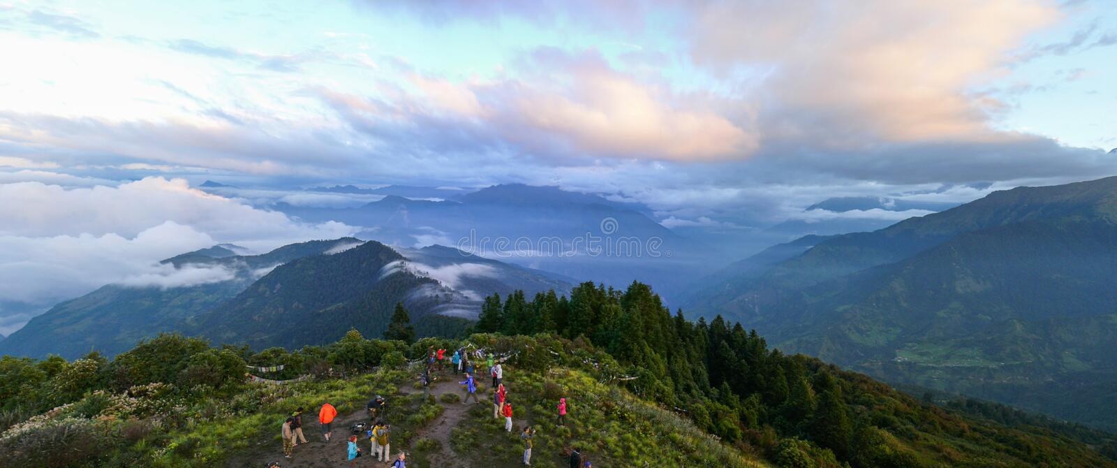 Tourists at Poon Hill, Nepal stock image