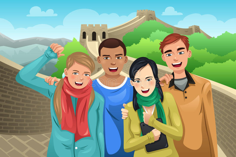 Tourists Posing in Great Wall of China. A vector illustration of tourist posing in great wall of China royalty free illustration