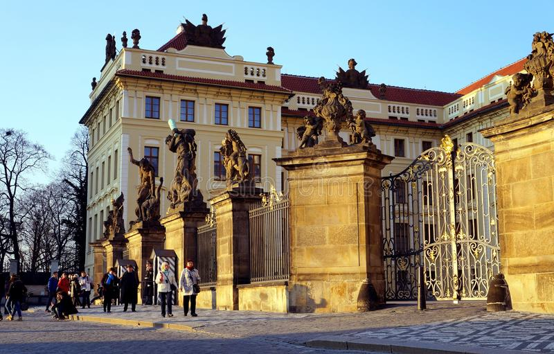 Tourists in Praga. Praga, Czech Republic in the sunset royalty free stock image