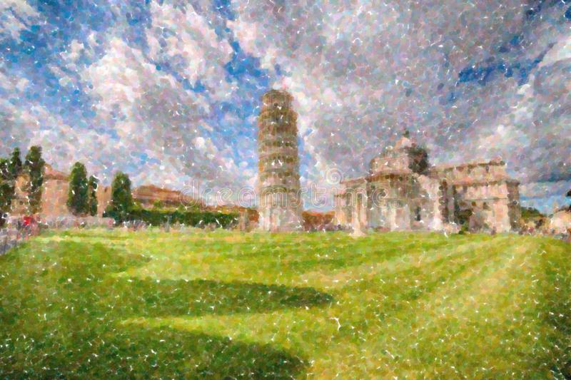 Public square of miracle in Pisa. Tourists in public Square of miracles in Pisa enjoying the leaning tower, one of the most famous wonders of Italy royalty free illustration
