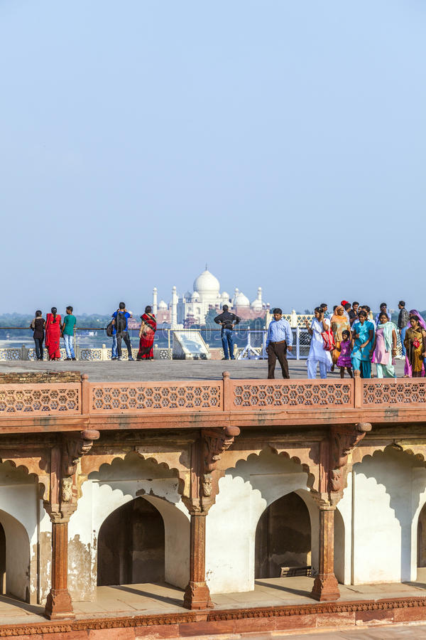 Download Tourists In The Red Fort In Agra With The Taj Mahal In The Background Editorial Image - Image of heritage, monument: 39510385