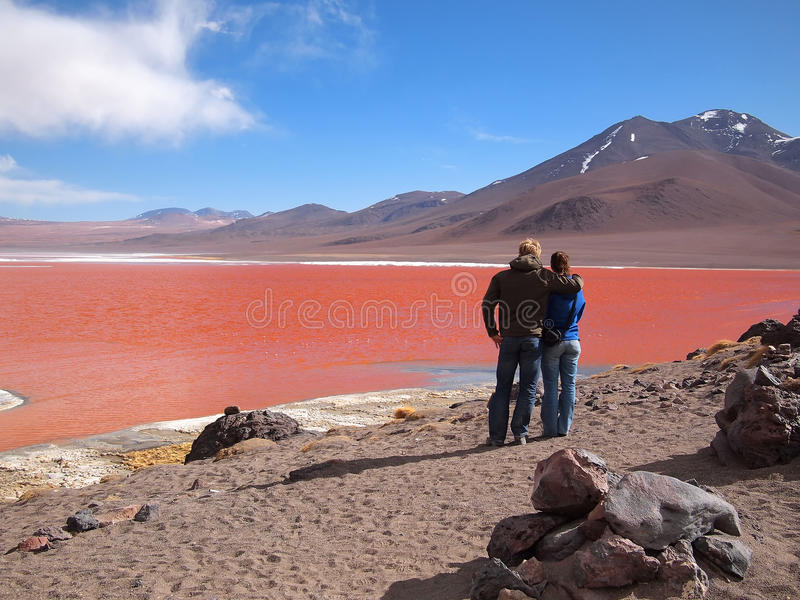 Tourists at the Red Lagoon royalty free stock images