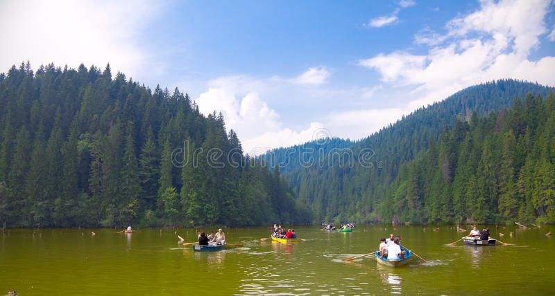 Tourists on the Red Lake royalty free stock image