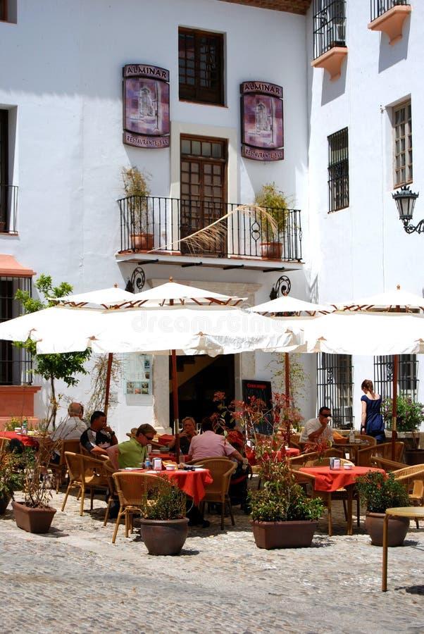 Pavement cafe, Ronda, Spain. royalty free stock photos