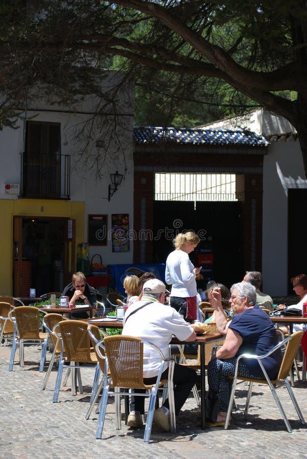 Pavement cafe, Ronda, Spain. stock photos