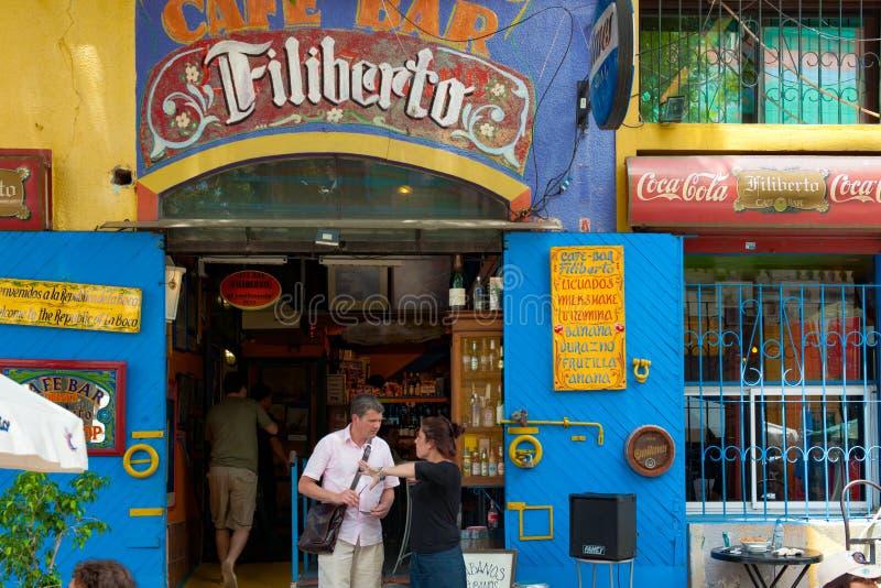 Buenos Aires, La Boca, Bar, Restaurant, Tango Club in La Boca, Buenos Aires, Argentina. Tourists in front of restaurant in Le Caminito, La Boca, Buenos Aires royalty free stock photos