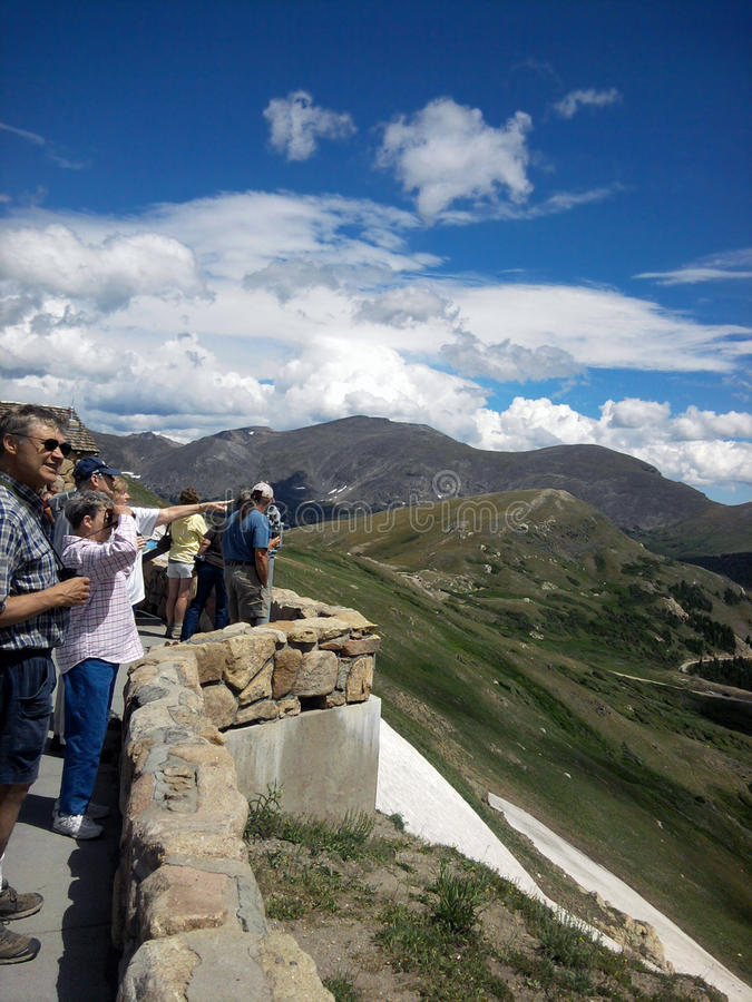 Tourists at the Rocky Mountain National Park royalty free stock photos
