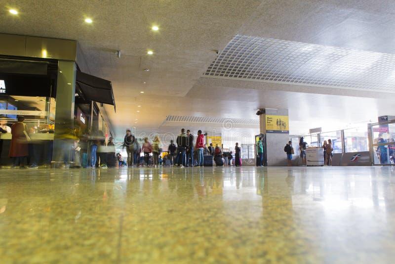 Tourists in Roma Termini subway station stock photo