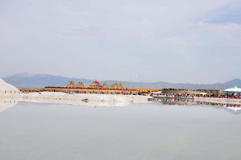 Tourist in salt lake stock image