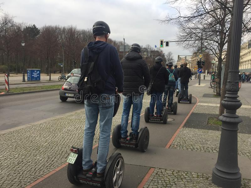 Tourists on a segway tour in Berlin, Germany royalty free stock image