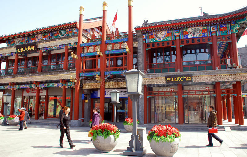 Tourists and shoppers on Qianmen Street, Beijing, China. stock images