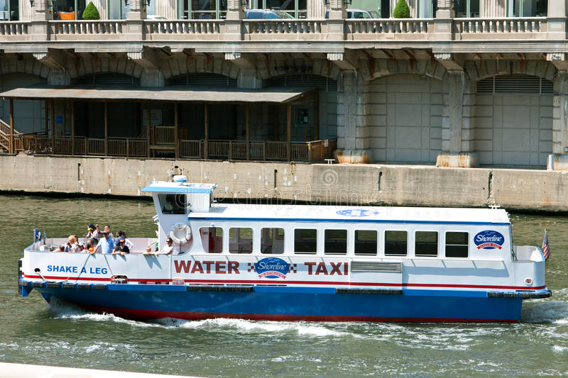 Tourists On Sightseeing Boat Travel Chicago River Editorial Stock Image